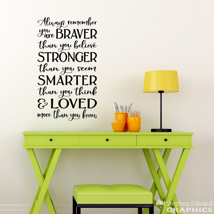 Always remember you are Braver Decal - Quote Wall Decal - Stronger than you seem Smarter than you think Loved more than you know