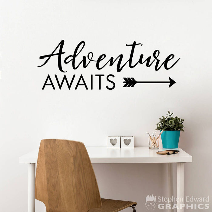 Adventure Awaits Wall Decal - Adventure Quote - Arrow Decal