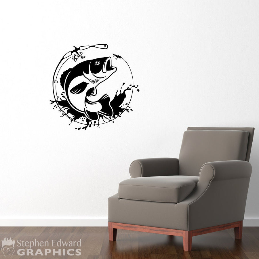 Bass Jumping Wall Decal - Fish decal for your Man Cave - Fishing Wall Decor