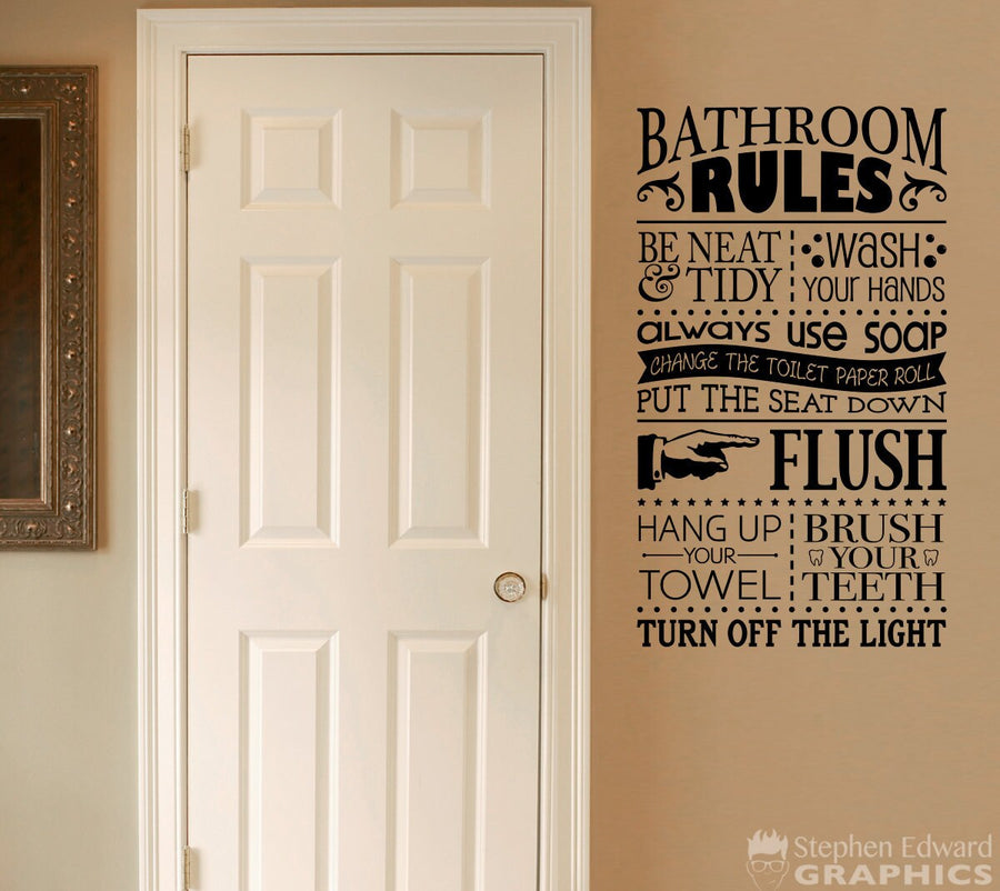 Bathroom Rules Decal - Wash your hands - Brush your teeth - Flush