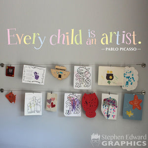 Every Child is an Artist Decal - Children Artwork Display Decal - Picasso Quote - Printed Pastel Rainbow Decal - Multiple sizes available
