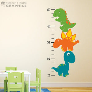 Cartoon Dinosaur Growth Chart Decal - Dinosaur Decor - Boy Bedroom Wall Art - Growth Chart Sticker