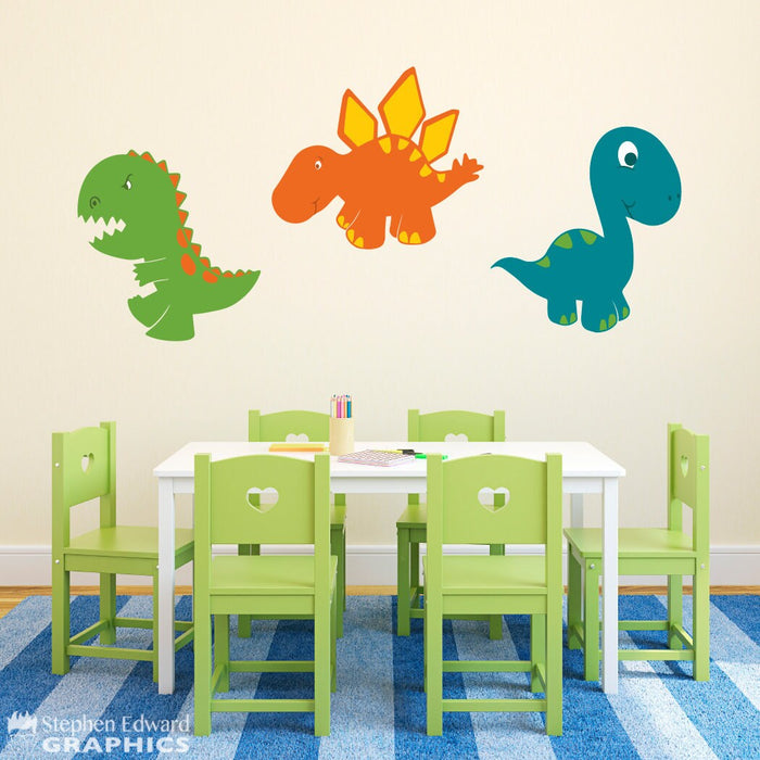 Cartoon Dinosaur Decal Set - 3 Dinosaur Wall Stickers - Kids Bedroom Decor