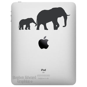 Elephant and Baby iPad Decal - Elephant Tablet Sticker
