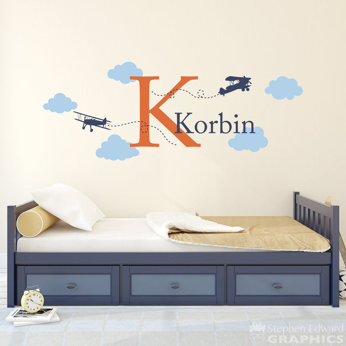 Airplane Wall Decal with Initial and Name - Personalized Boy Name Decal - Plane Wall Sticker - Boy Bedroom Decor - Large Version 2