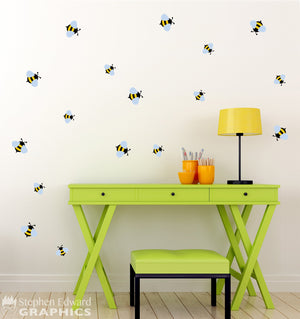 Bee Wall Decal - Set of 17 Bumblebees - Wall Sticker