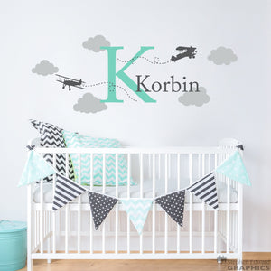 Airplane Decal Set with Initial, Name, Clouds - Boy Name - Plane Wall Sticker - Boy Bedroom Decor - Medium Version 2