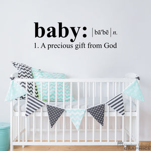 Baby a precious gift from God Decal - Baby definition Wall Art - Nursery Decor