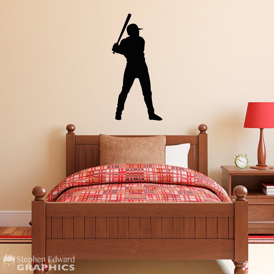 Baseball Player Wall Decal - Boy Bedroom Sports Theme