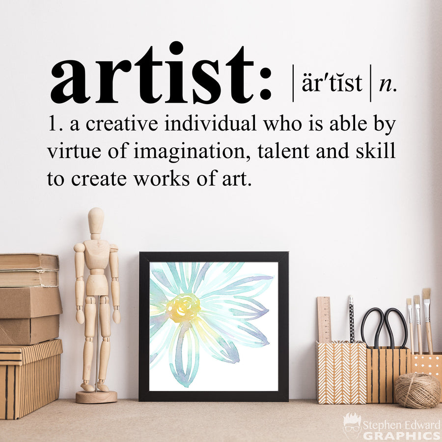 Artist Definition Decal - Dictionary definition Decal - Art Studio - Craft Room Wall Decor