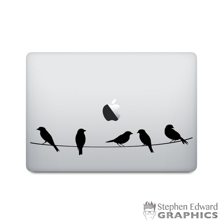 Birds on a wire Macbook Decal - Nature Laptop Decal - Bird Sticker