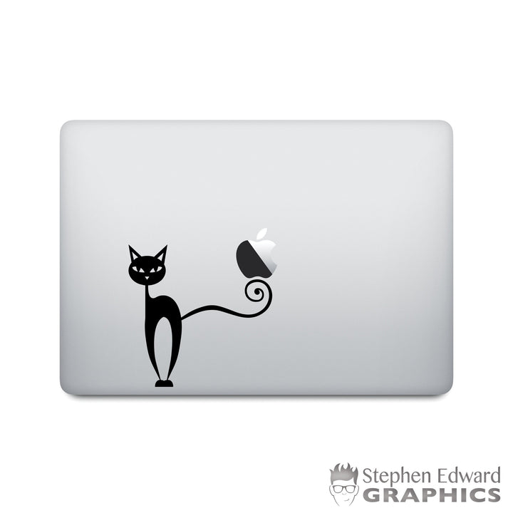 Black Cat Laptop Decal - Cat Macbook Vinyl - Halloween Laptop Sticker