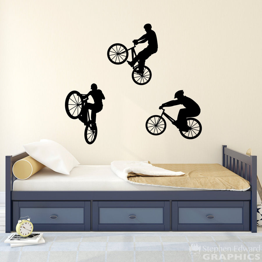 BMX Bike Wall Decal - Set of Three - Boy Bedroom Decor