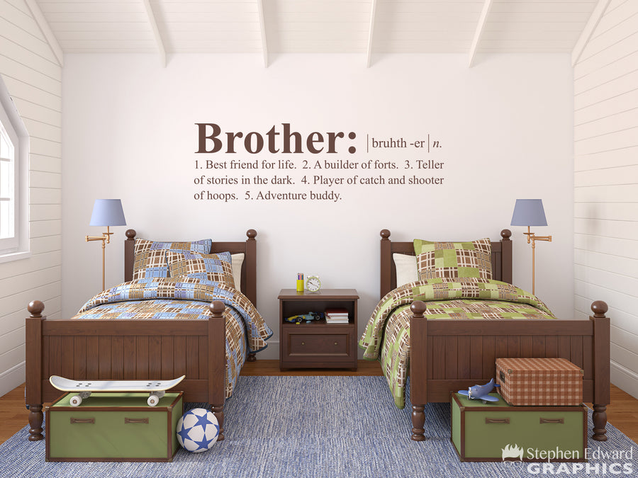 Brother Definition Decal - Shared Boy Bedroom Decor - Dictionary definition