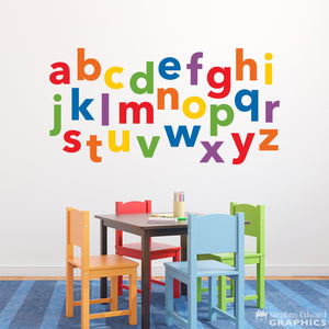 Alphabet Decal - Lowercase Letter Wall Stickers - Children Wall Decal - Teacher Decor