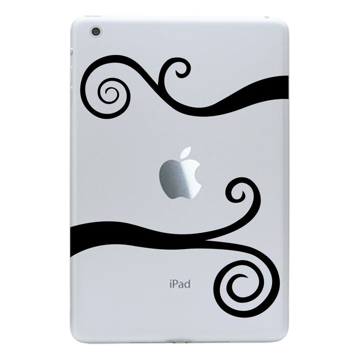 iPad Mini Decal Wavy Scrolls - iPad Sticker - Swirl Tablet Decal