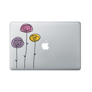 Flower Laptop Decal - Hand Drawn Roses Macbook Decal - Rose Decal