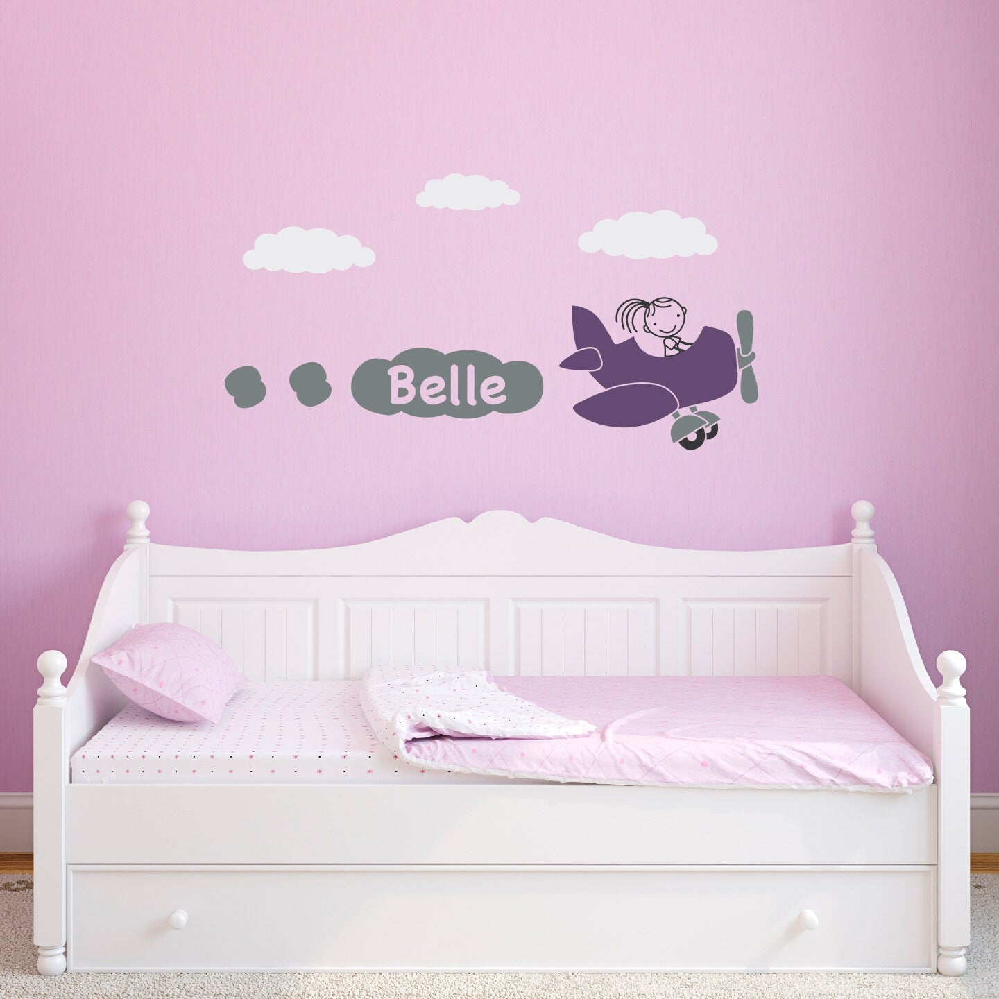 Airplane Wall Decal With Girls Personalized Name Plane Wall Sticker Stephen Edward Graphics
