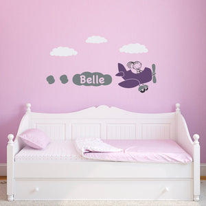 Airplane Wall Decal with Girls Personalized Name - Plane Wall Sticker - Bedroom Decal - Children Wall Decals