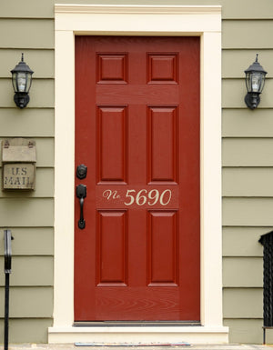 Address Decal - Number Sticker - Front Door Decor - Outdoor Script Decal - 4