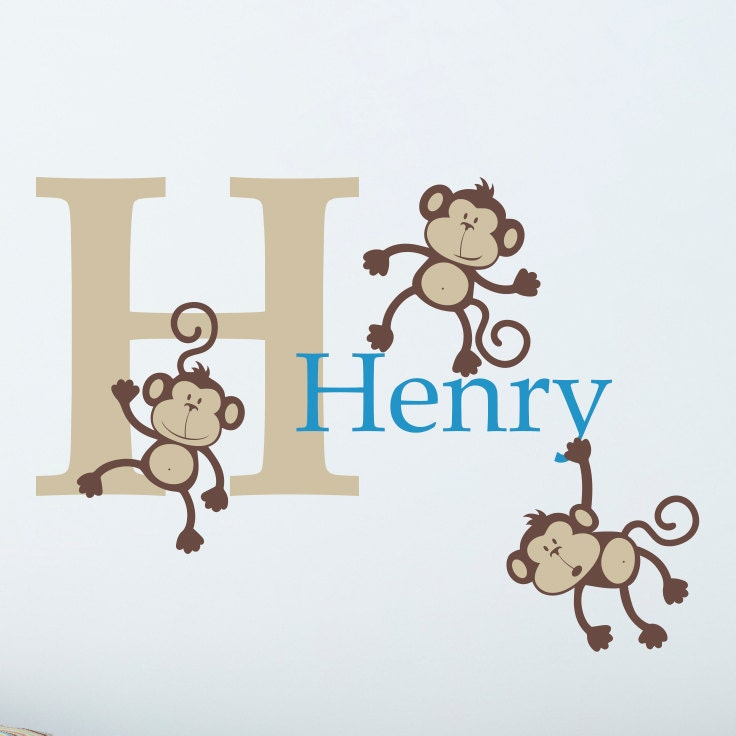 Boys Name Wall Decal with Monkey Set and Initial - Personalized Boy Decal - Medium
