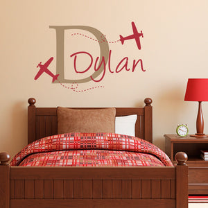 Boys Name Wall Decal with Planes - Airplane Decal with Initial - Personalized Boy Decal - Medium