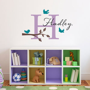 Birds & Branch Wall Decal with Initial and Name - Bird Wall Decal - Personalized Girls Name Decal - Medium