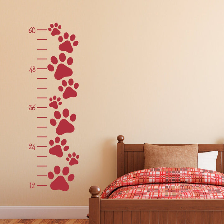 Paw Print Growth Chart Wall Decal - Growth Chart Dog Pawprint - Cat Paw Prints Wall Art
