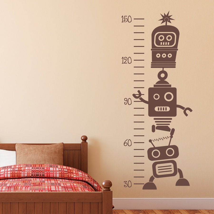 Growth Chart Wall Decal - Robot Wall Decal - Robot Growth Chart Wall Art - Children Wall Decal