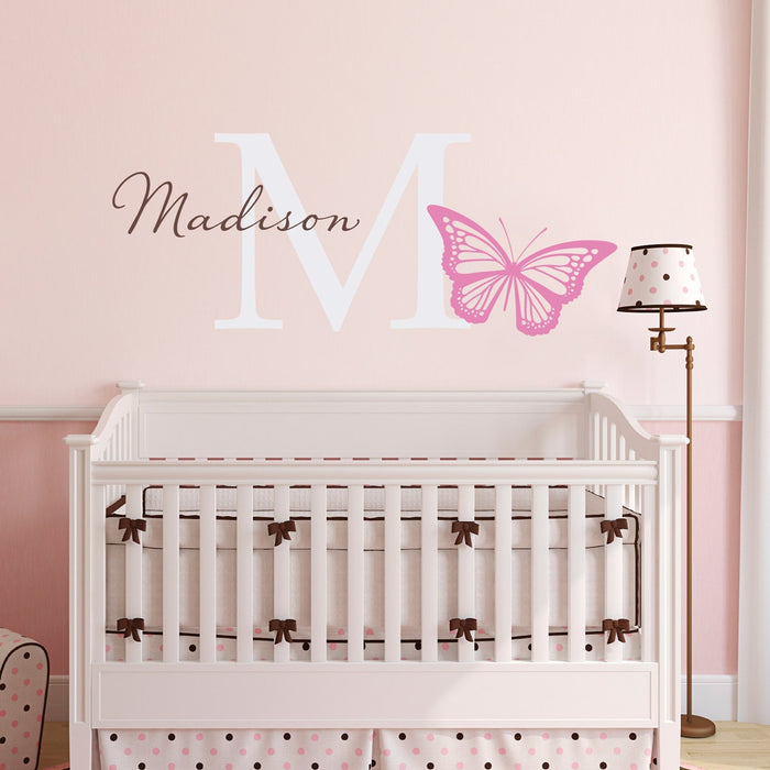 Butterfly Wall Decal - Girls Name and Initial Sticker - Girl Bedroom Decor - Butterfly Sticker - Large
