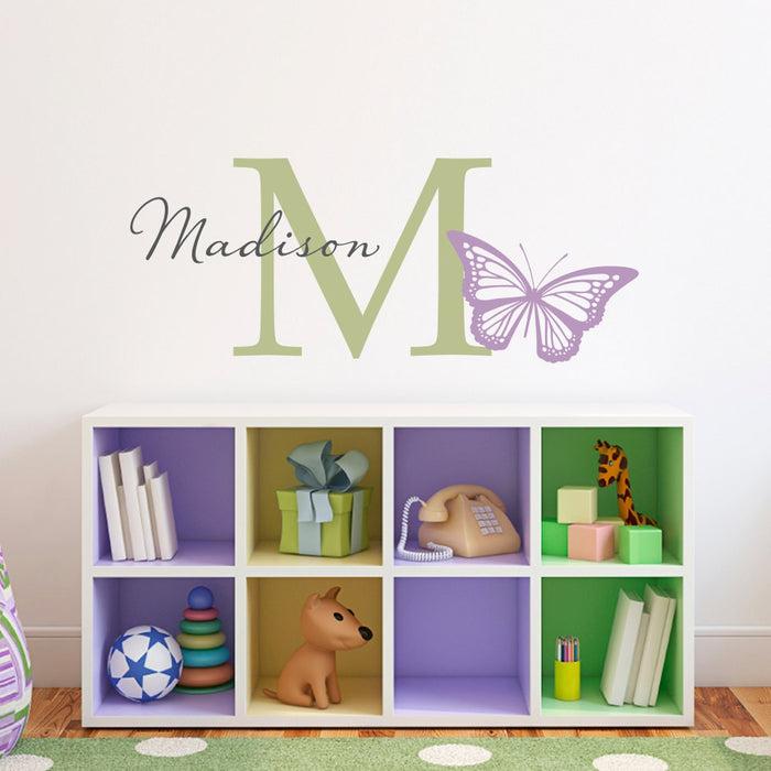 Butterfly Wall Decal with Initial & Name - Initial Girls Name Butterfly Decals - Butterfly Wall Art - Medium
