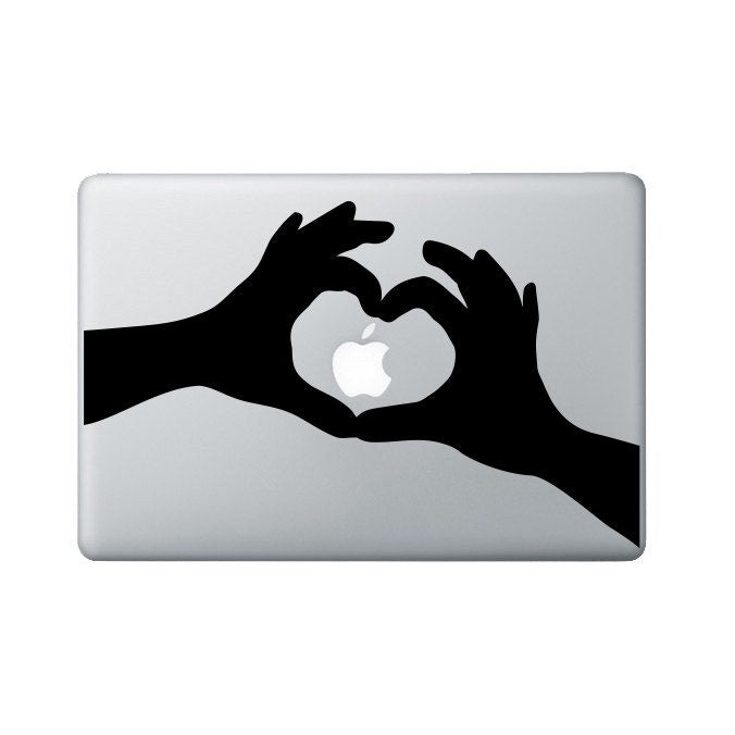 Hand Heart Macbook Decal - Heart Laptop Decal - I heart apple Decal