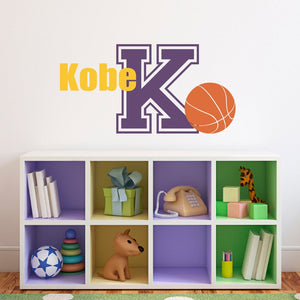 Basketball Wall Decal with Initial & Name - Sports Wall Decal - Boy Bedroom Wall Art - Medium