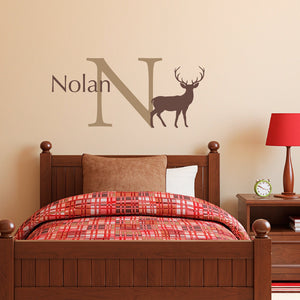Buck Initial Name Wall Decal Set - Personalized Wall Decal - Hunting Wall Art - Medium