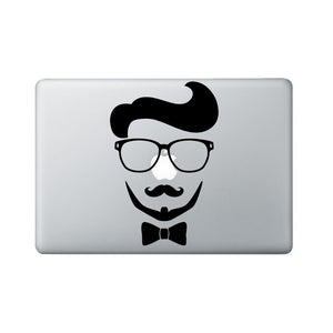 Hipster Laptop Decal - Hipster Macbook decal - Nerd Glasses, Mustache, Beard & Bow Tie Laptop Sticker