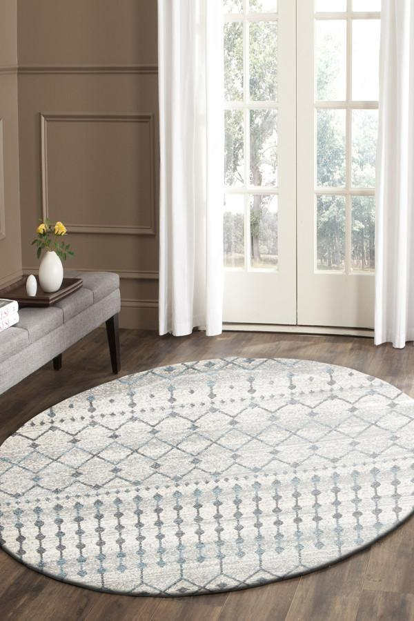 Evoke Slate White Transitional Round Rug