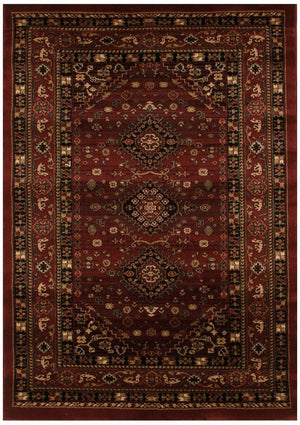 Istanbul Collection Traditional Shiraz Design Burgundy Red Rug