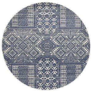 Mirage Zelda Grey Navy Round Rug
