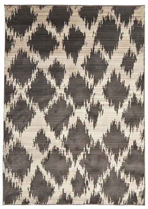 Moroccan Style  Diamond Design Charcoal Rug