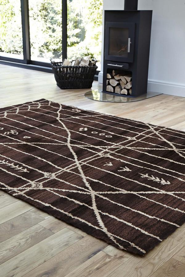Moroccan Style  Tribal Design Chocolate Rug