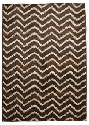 Moroccan Style  Chevron Design Brown Beige Rug