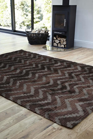 Moroccan Style  Chevron Design Brown Grey Rug