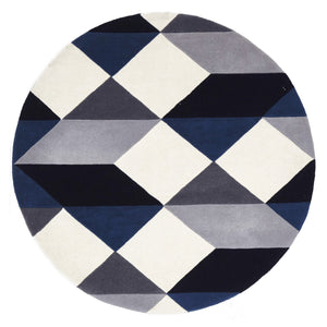 Matrix Pure Wool Steel Round Rug