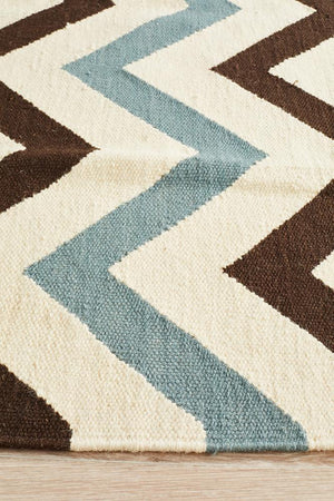 Nomad Pure Wool Flatweave 18 Blue Runner