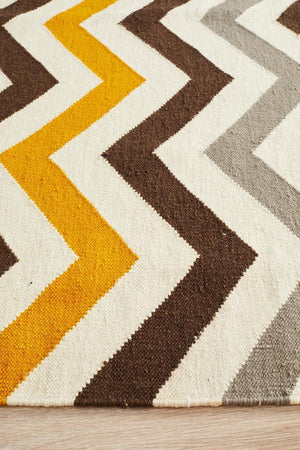 Nomad Pure Wool Flatweave 18 Yellow Rug