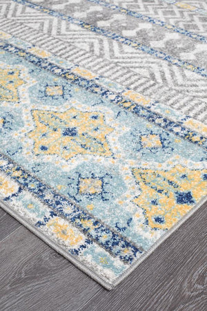 Oasis Sabrina Blue Tribal Runner Rug
