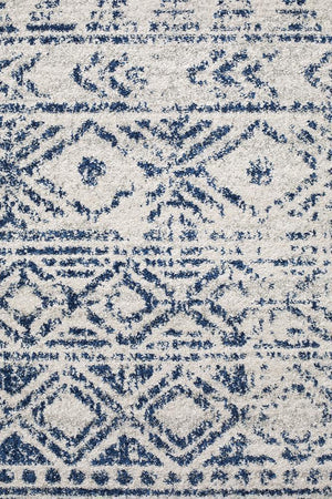 Oasis Ismail White Blue Rustic Runner Rug