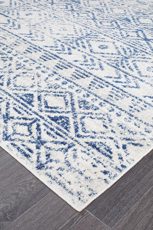 Oasis Ismail White Blue Rustic Rug