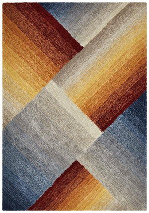 Prism Haley Textured Rust Grey Multi Coloured Rug