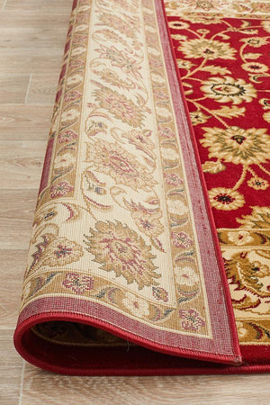 Sydney Collection Classic Rug Red With Ivory Border